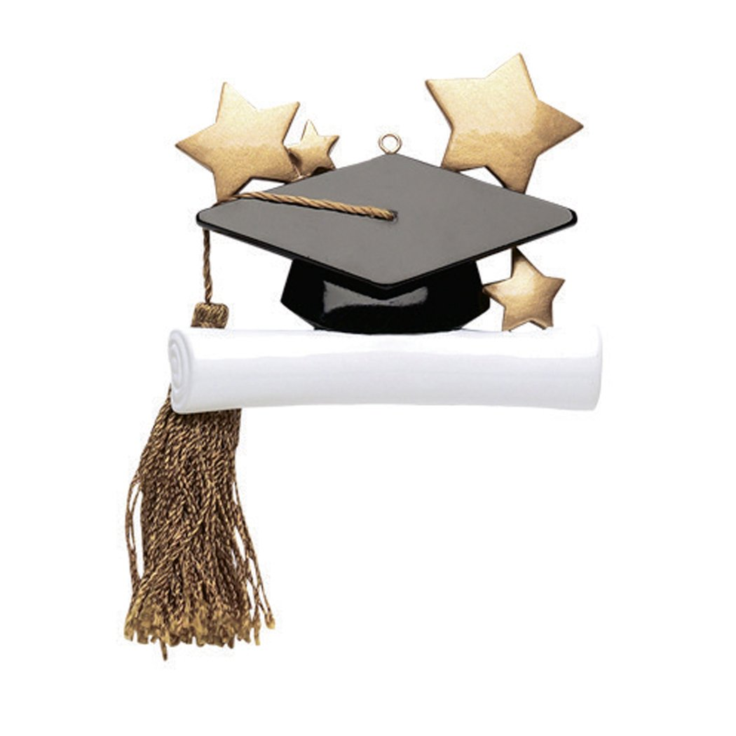 Personalized Graduate Christmas Ornament for Tree 2018 - Hat with Real Tassel on Diploma Golden Stars - Under-Graduation PhD Masters Degree End School New Girl Boy Congratulation - Free Customization