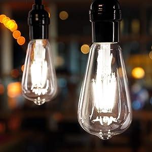 Brightown LED Bulbs 6 Packs 60 Watt Equivalent, Dimmable Edison Light Bulb 6W E26 Base Vintage Led Light Bulb, Amber Bulbs, Daylight White