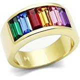 Gold Beauty Rainbow CZ Ring - Lesbian & Gay Pride Gold IP Plated Ring w/ CZ Stones. Gay and Lesbian LGBT Pride Jewelry - Gay & Lesbian Pride Stainless Steel Promise or Wedding Ring Band.