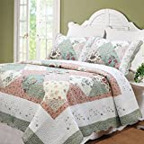 Cozy Line 100% Cotton Floral Patchwork Green Tiffany 3 Pcs Scalloped Edge Country Reversible Quilt Bedding Set Bedspread Coverlet,Full/Queen Size