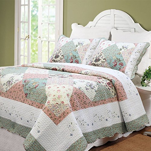 Cozy Line 100% Cotton Floral Patchwork Green Tiffany 3 Pcs Scalloped Edge Country Reversible Quilt Bedding Set Bedspread Coverlet,Full/Queen Size by Cozy Line Home Fashions (Image #1)