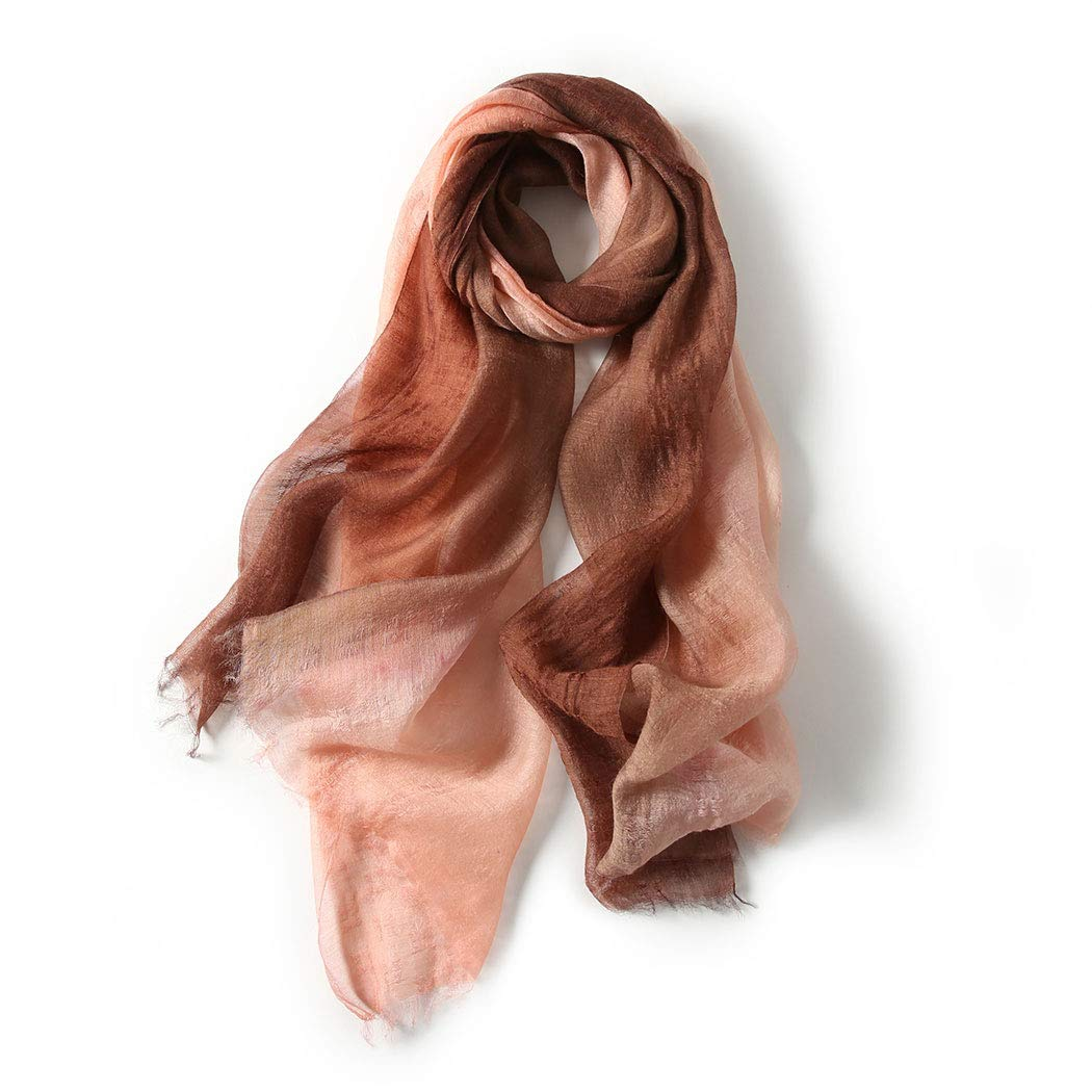Brown New silk scarf female Korean version of the gradient color silk wool blend scarf 70  195 cm