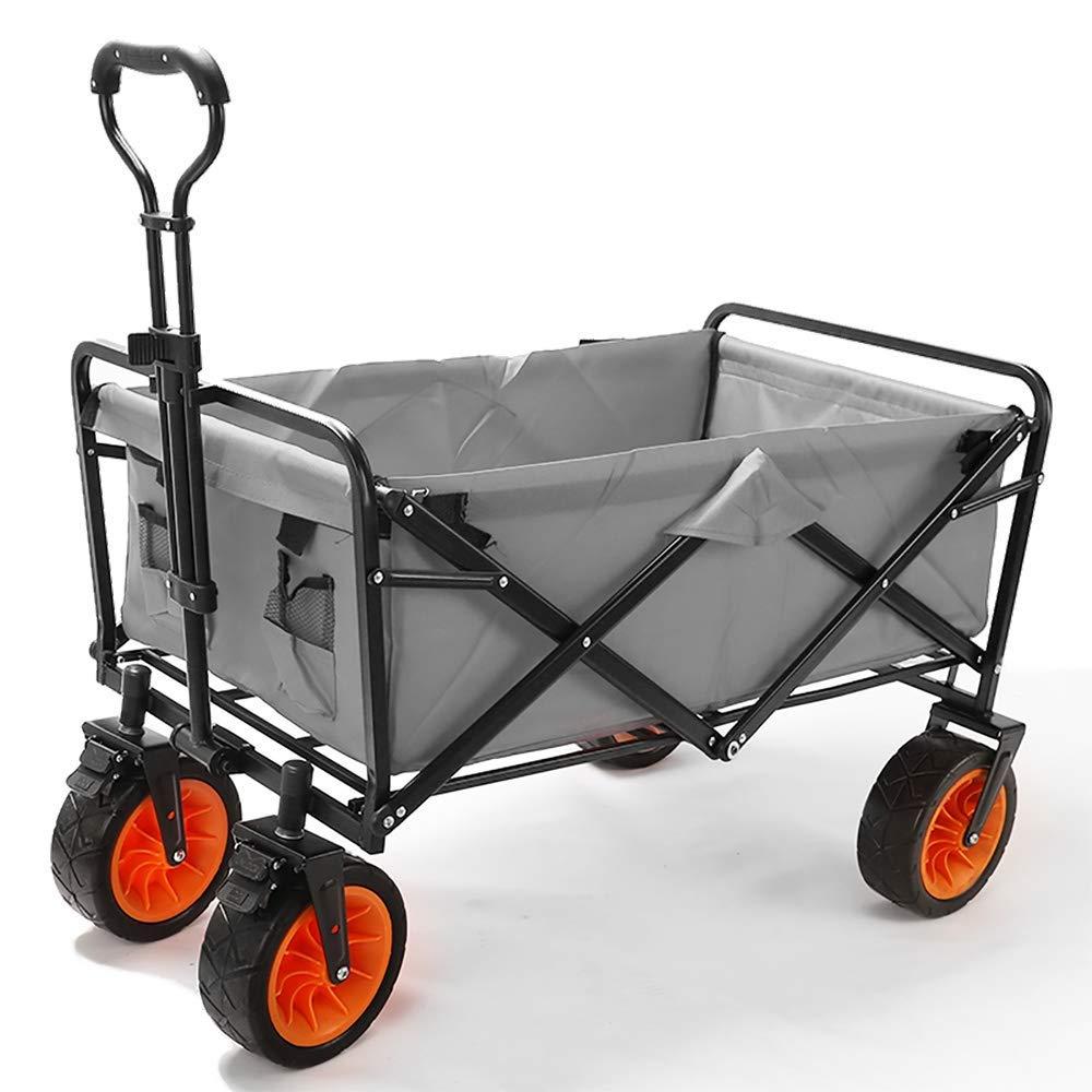 Li hand-trucks LWOO Folding Garden Cart Beach Shopping Cart/Mass Storage/Widening Tire + Brake/Load: 80 Kg/Grey (Color : Grey) by Li hand-trucks