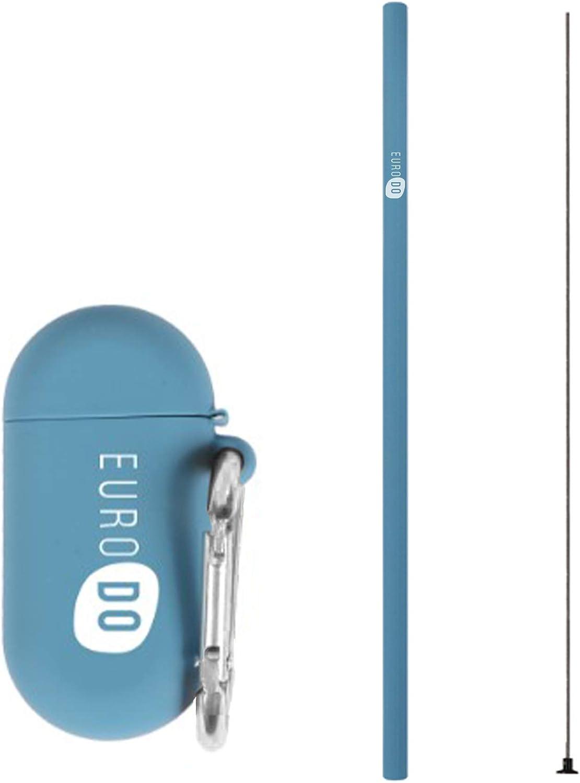 EURODO Pajita Azul Reutilizable de Silicona con Cepillo de Limpieza, Estuche y Llavero - Pajitas para Beber Plegables Reutilizables - Alternativa ecológica a Las pajitas de plástico Vasos y Batidos