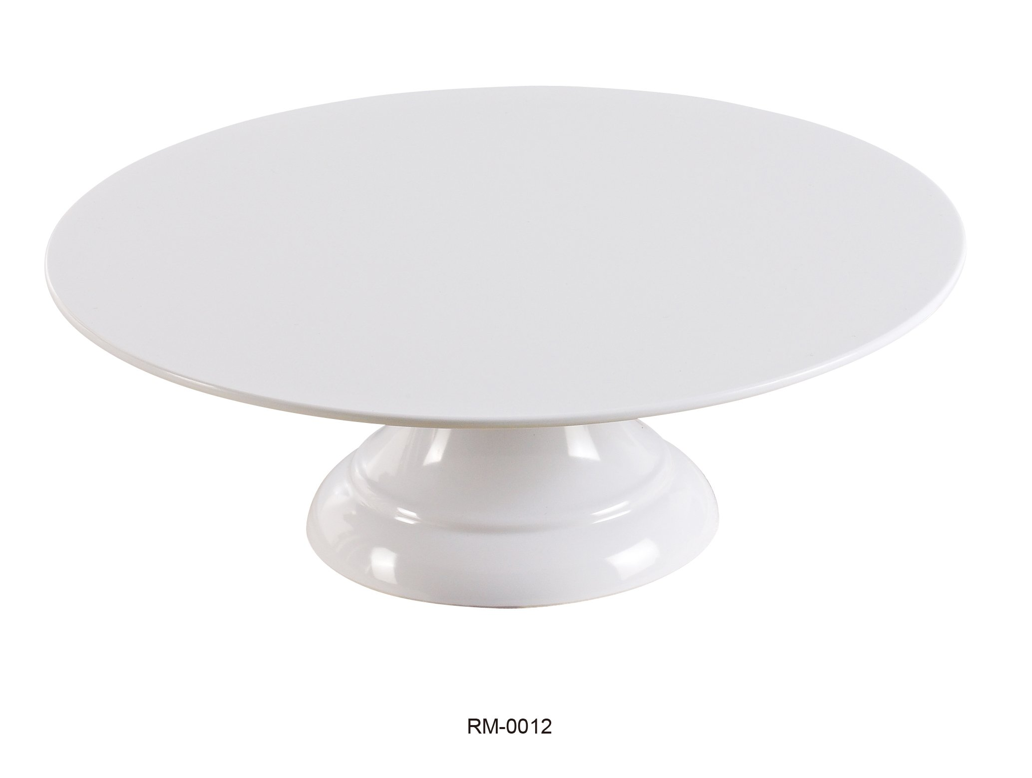 Yanco RM-0012 Rome Cake Stand, 12'' Diameter, 4.125'' Height, Melamine, White Color, Pack of 6