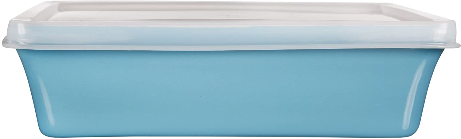 Home Essentials & Beyond Storage 16 oz Rectangular Baker with Lid, Aqua/Clear 70989