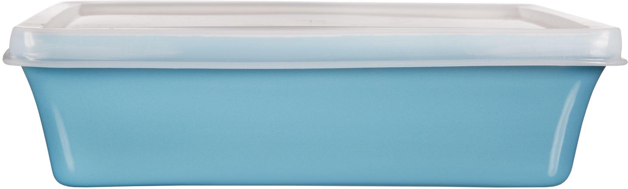 Home Essentials & Beyond Storage 16 oz Rectangular Baker with Lid, Aqua/Clear