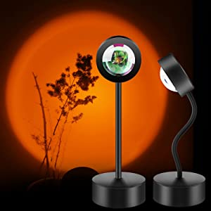 Sunset Lamp, 360 Degree Rotation Sunset Projection Lamp LED Night Light, USB Floor Stand Sunset Light Romantic Gift for Home Decor Party Living Room Bedroom Photo