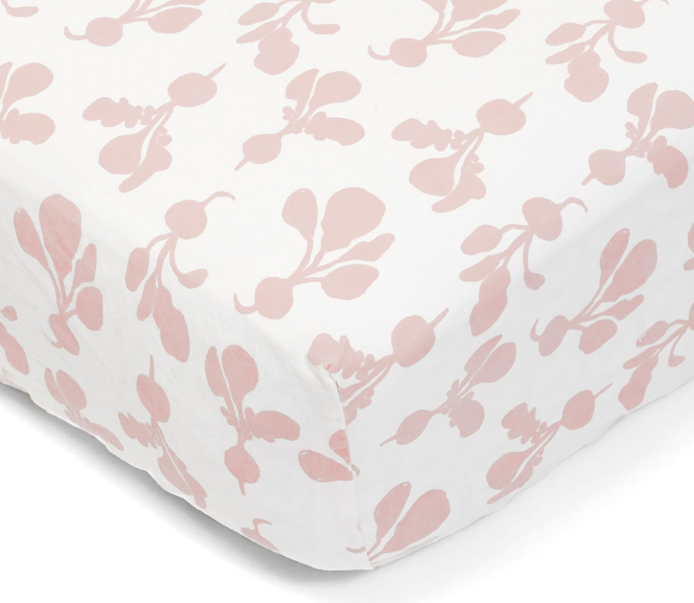 Lewis Organic Cotton Fitted Crib Sheet Radish Print 100% Organic Cotton Percale, Blush