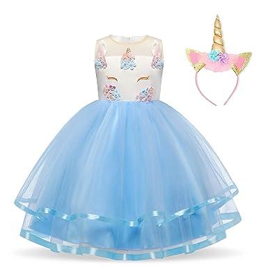 1498b869d6c9 NNJXD Unicorn Costume for Flower Girls Cosplay Party, Fancy Princess Dress:  Amazon.co.uk: Clothing