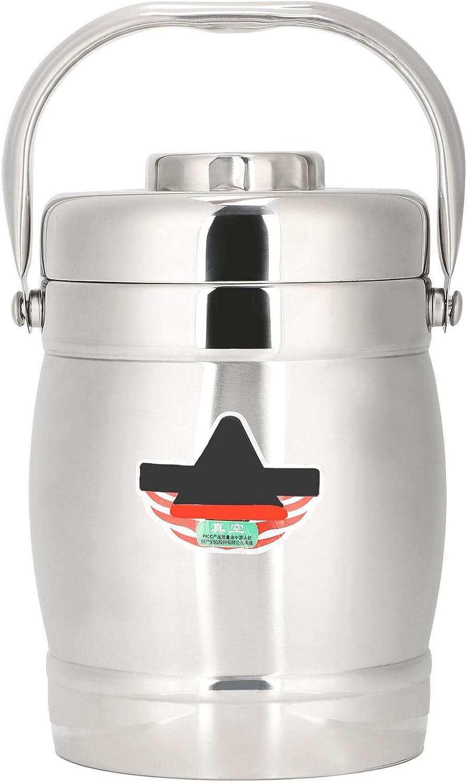 Fiambrera de vacío de 1,4 l Sartén de vacío de doble capa recta Fiambrera de vacío en forma de barril Fiambrera de acero inoxidable con aislamiento térmico Bento para alimentos