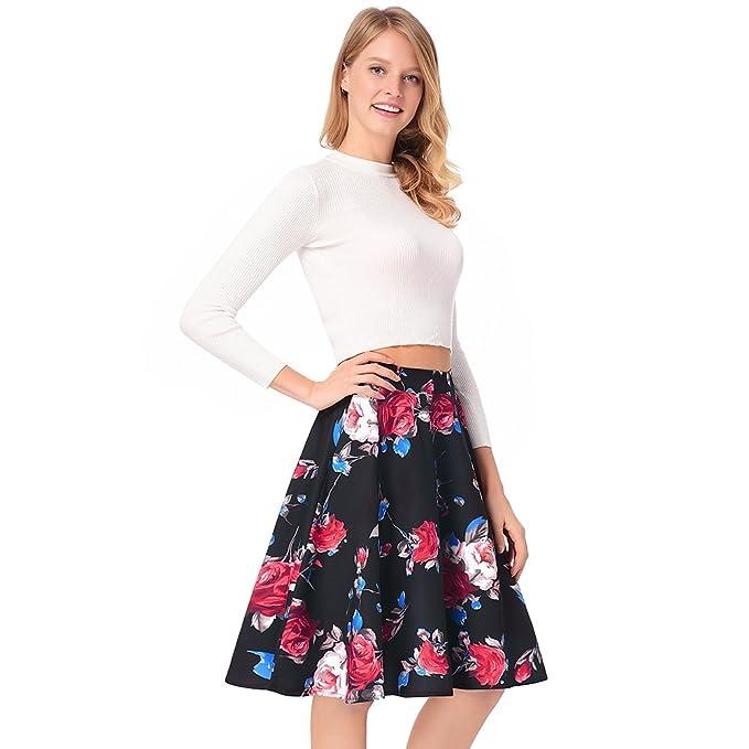 f4509122a Forart Womens Retro Satin Floral Pleated Skirts Knee Length Flowy High  Waist A-Line Tutu