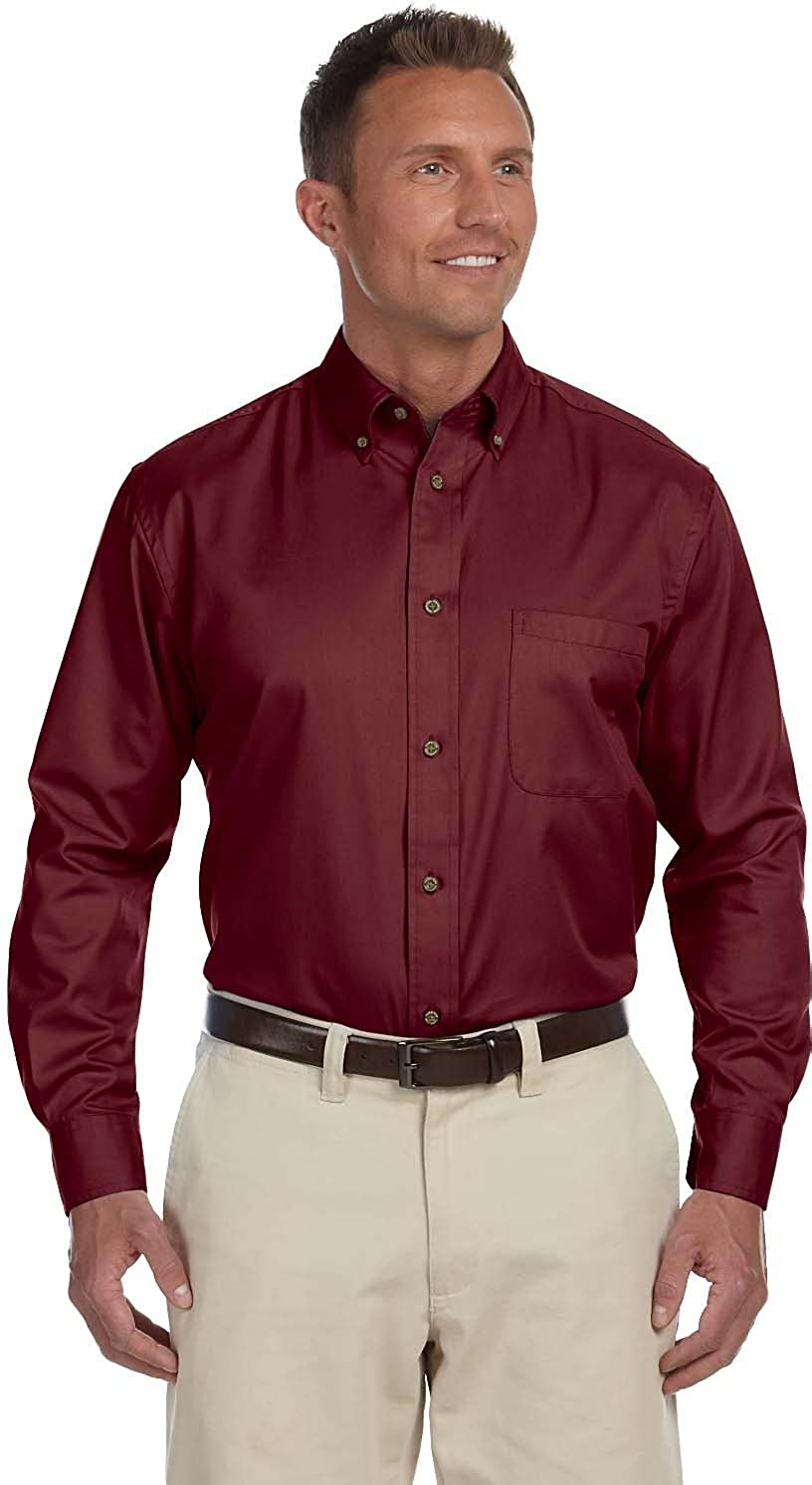 Harriton Men's Long-sleeve Twill Shirt with Stain-release M29804
