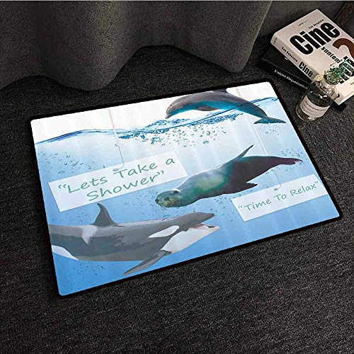Fun Fish Shark Caves - Funny Whale Non-Slip Door mat Lets Take Shower Time to Relax Cute Fish Dolphin Shark Seal Underwater Sea Creatures Fun Smiling Face Durable W16 xL24 Blue Green Gray