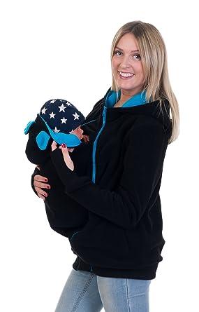 Divita 3in1 Tragejacke Umstandsjacke mit süssen Bärchen Ohren für Tragetuch  Babytrage Fleece für Baby und Mama be6f0740116