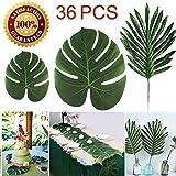 LOMIRO 36 Pcs 3 Kinds Artificial Palm Leaves Tropical Plant Faux Leaves Safari Leaves Hawaiian Luau Party Suppliers Decorations,Tiki Aloha Jungle Beach Birthday Table Leave Decorations