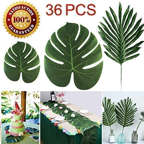 LOMIRO 36 Pcs 3 Kinds Artificial Palm Leaves Tropical Plant Faux Leaves Safari Leaves Hawaiian Luau Party Suppliers Decorations,Tiki Aloha Jungle Beach Birthday Table Leave Decorations ()