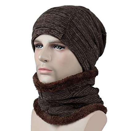 80e7f23fd01 Amazon.com  EnjoCho Clearance Sale! 2PCS Unisex Men Women Winter Beanie Hat  Scarf Set Warm Knitted Cap with Scarf (Coffee-4)  Office Products