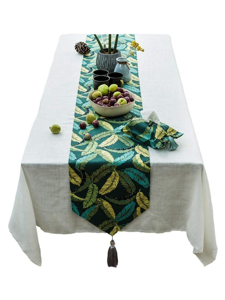 AOyEKXD American Country Garden Nordic verde Vintage Tovaglia Decorativa Ins Table Table Table Bunting, 12 × 102In