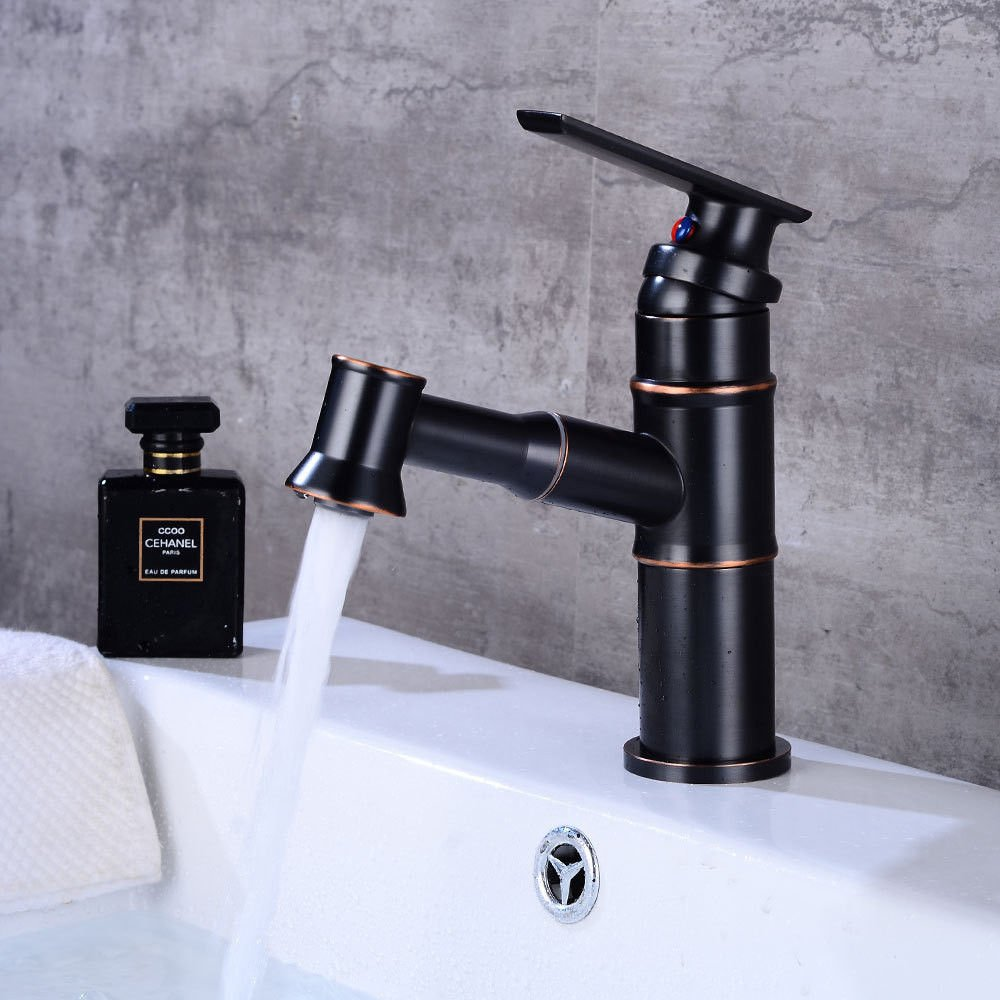 Lpophy Bathroom Sink Mixer Taps Faucet Bath Waterfall Cold and Hot Water Tap for Washroom Bathroom and Kitchen Pulling Retro Hot and Cold Single Hole