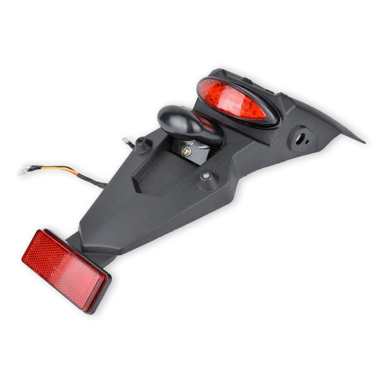 TUINCYN Parafango posteriore 12 V LED fanale posteriore freno stop indicatore di funzionamento della lampada per fuoristrada moto motocross Dirt bike, nero della lente rossa (confezione da 1)