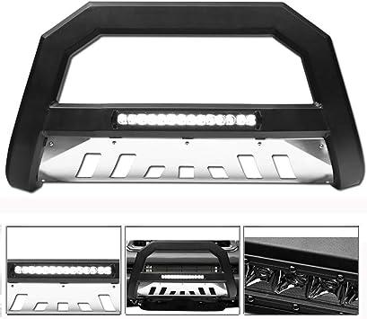 Topline Autopart Matte Black AVT Style Aluminum LED Light Bull Bar Brush Push Front Bumper Grill Grille Guard With Stainless Skid Plate For 05-07 Jeep Grand Cherokee 06-10 Commander