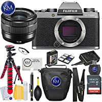 Fujifilm X-T100 Mirrorless Camera w/15-45mm Lens + Essential Photo Bundle (Dark Silver)
