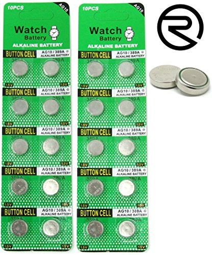 Loose Battery Cells - Rayverstar LR1130 AG10 1.5V Alkaline Batteries (20) Fits: L1131, 189, 389, 390, 534, 554, 603 (List Below)