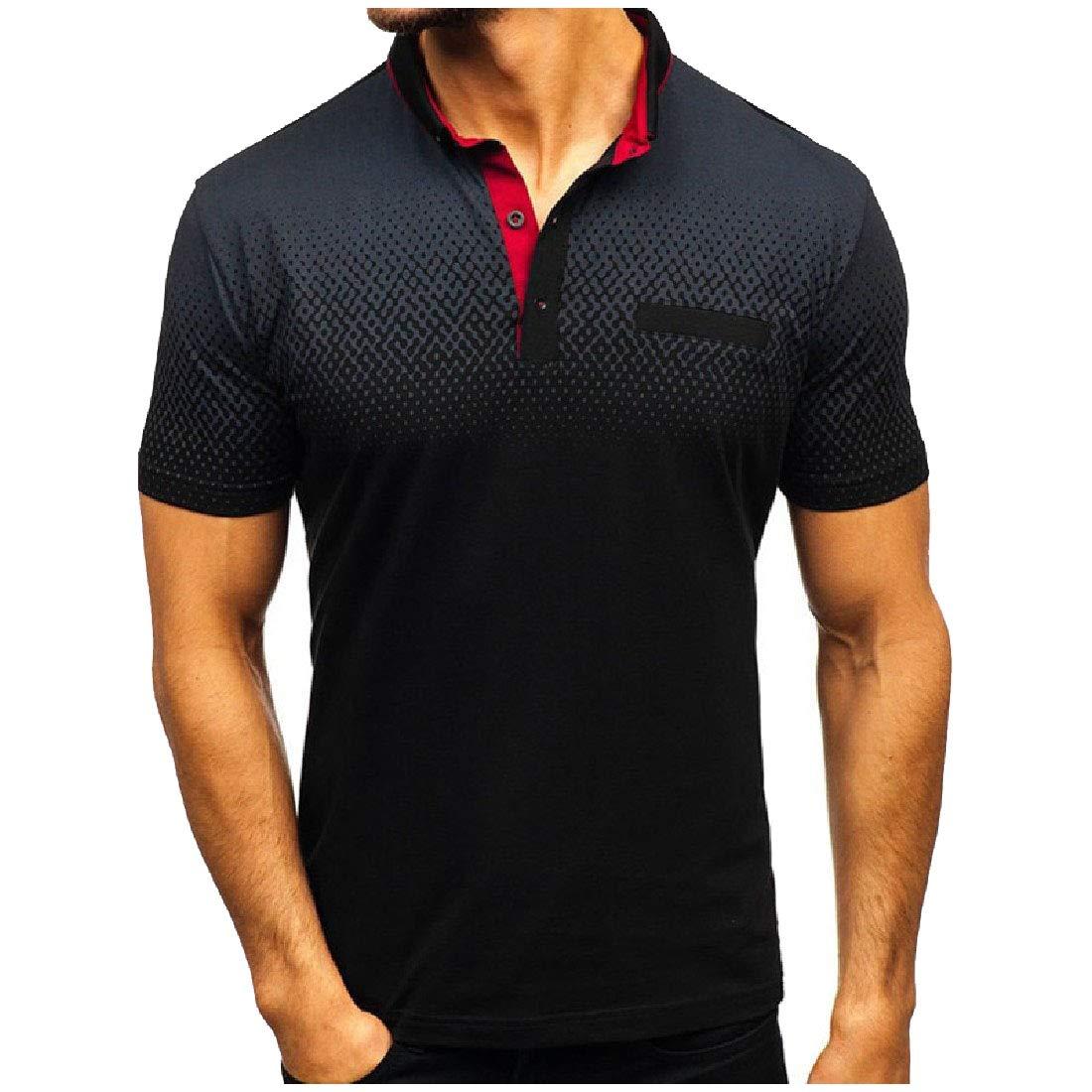 DressUMen x 3D Print Turn-Down Collar Polo Short Sleeve Tunic Tops T-Shirt
