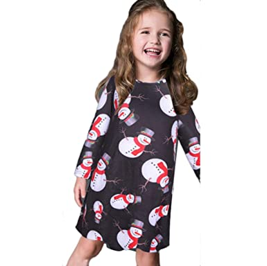 37aac8b2da043 Vicbovo Clearance Christmas Kids Toddler Baby Girl Long Sleeve Snowman Print  Xmas Party Swing Dresses (