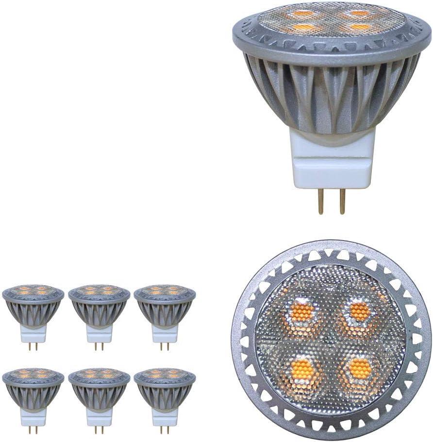 BAOMING LED MR11 Gu4 3W Super brillante bombilla, Igual a Bombilla Halógena de 35W 280lm 6000k 30 ° AC/DC 12v ángulo de haz, luz blanca fría LED luz bombillas Pack de 6 unidades