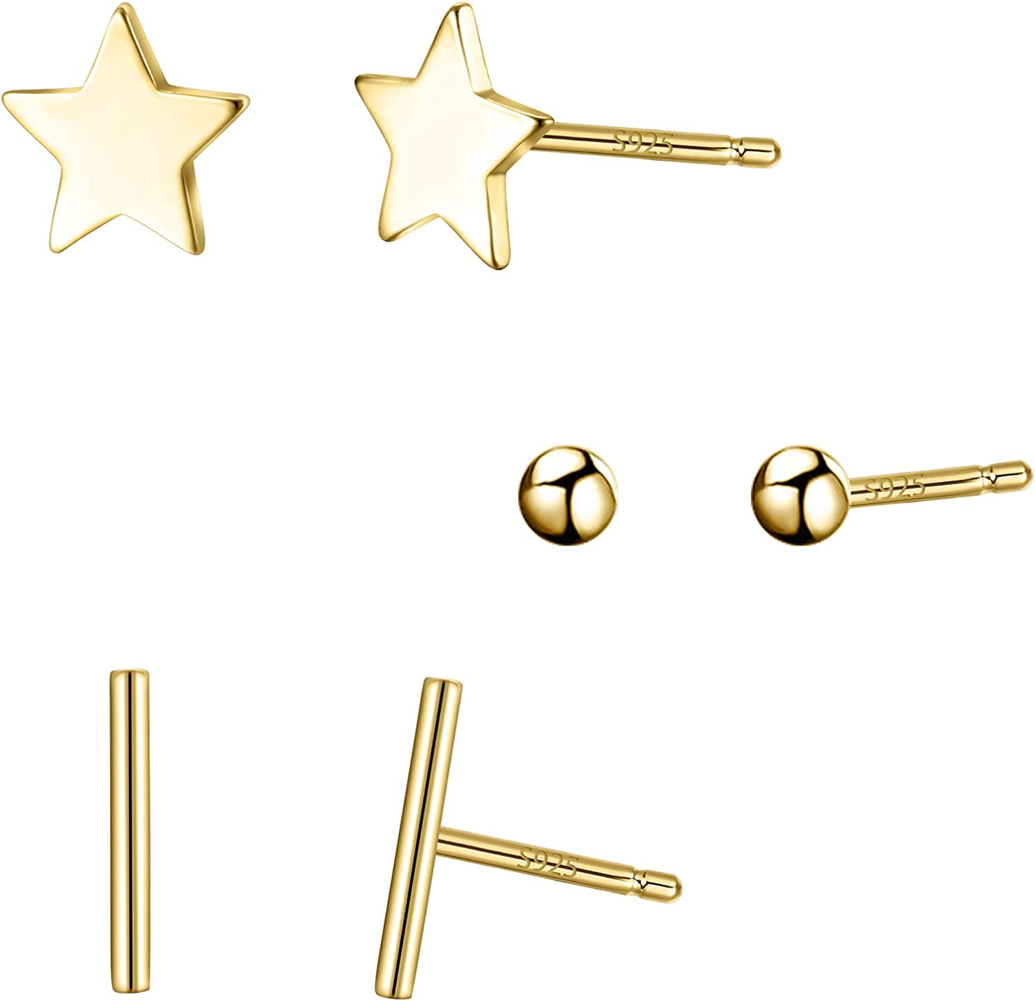 Elequeen 925 Sterling Silver 3 Sets Star Rectangle Ball Tiny Studs Earrings For Women Girls Gold Clothing Amazon Com