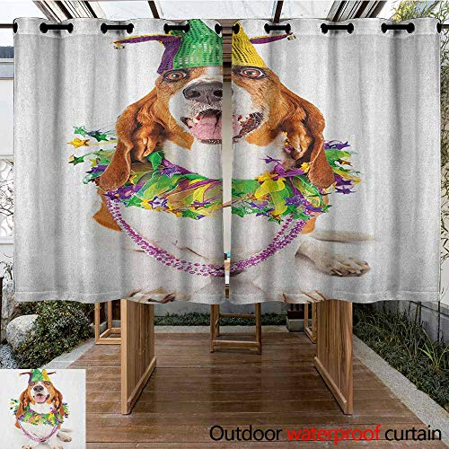 AndyTours Curtains for Living Room,Mardi Gras,Happy Smiling Basset Hound Dog Wearing a Jester Hat Neck Garland Bead Necklace,for Patio/Front Porch,K183C160 Multicolor
