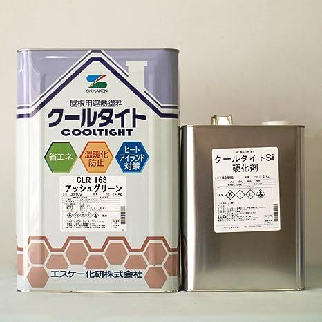 Amazon   エスケー化研 クールタイトSi 淡彩色 16kgセット CLR-163 アッシュグリーン   塗料缶・ペンキ