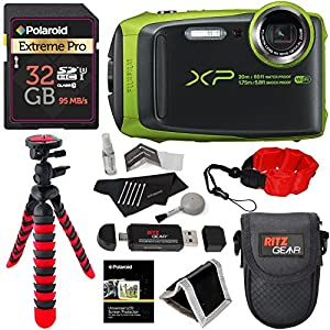 Fujifilm FinePix XP120 Waterproof Digital Camera - Lime, Polaroid 32GB SD Memory Card, Ritz Gear Flexi Tripod, Ritz Gear Point and Shoot Camera Case, Floating Strap, Cleaning Kit and Accessory Bundle