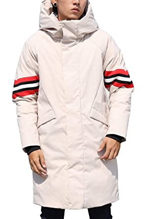 a0b141095fb Men's Winter White Down Jacket Coats Long Thickened Hooded Puffer Quilted  Padded with Hood Line Collar