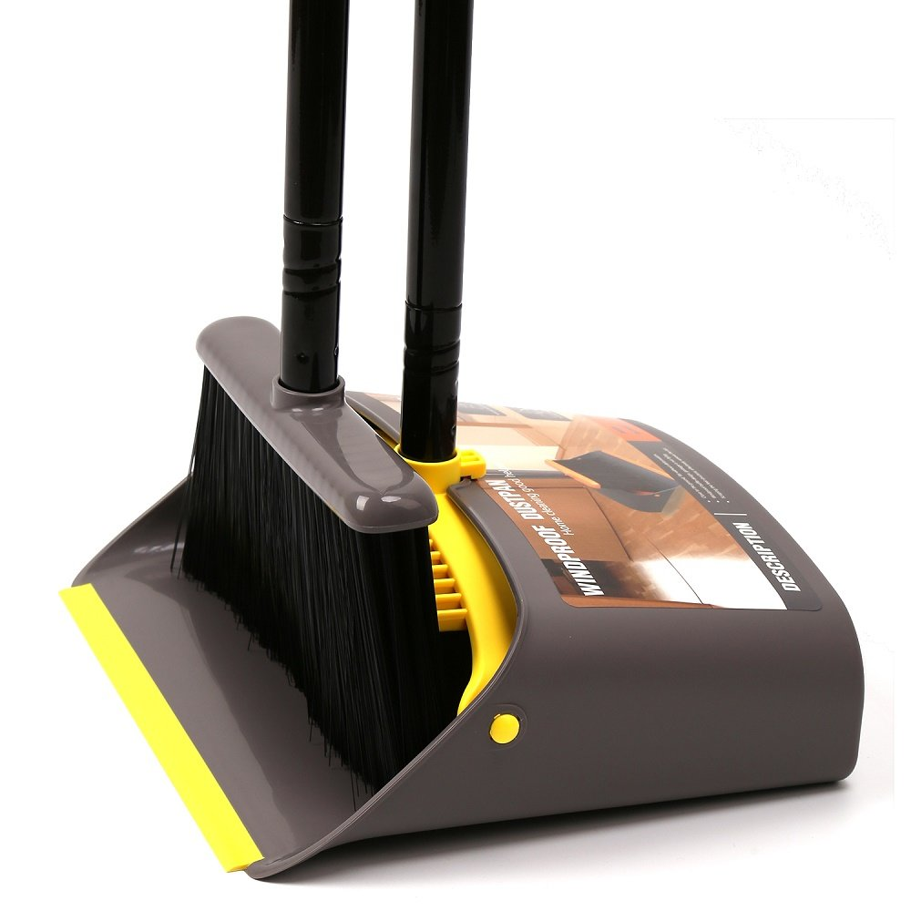 Dust Pan and Broom/Dustpan Cleans Broom Combo with Long Handle For Home Kitchen Room Office Lobby Floor Use Upright Stand up Dustpan Broom Set