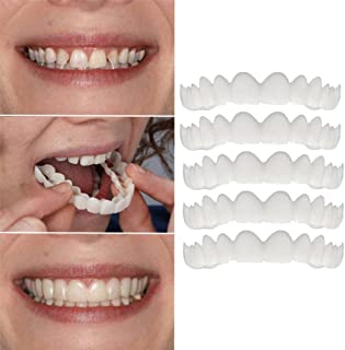 Iusun 5PCS Veneers Dentures Fake Teeth Serrated Denture Teeth Top Comfort Fit Flex Teeth Socket (White-5PCS)