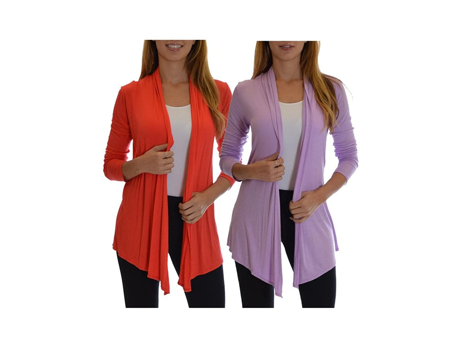 2 Pack Golden Black Fashion Women's Fly Away Open Front Basic Cardigan Red Wine