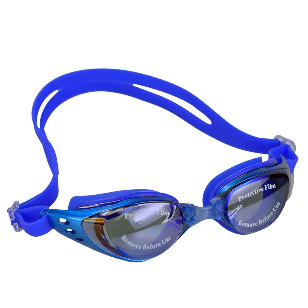 Ushoppingcart Blue Adult Unisex Safety Anti-Fog Swimming Goggles Swim UV Protection Glasses Waterproof Adjustable Eyeglasses for Men Women
