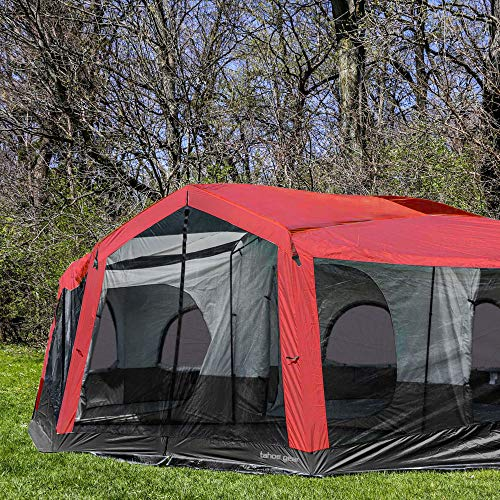 Tahoe Gear Carson 3 Season 14 Person Large Solar Shield Family Cabin Tent, Red