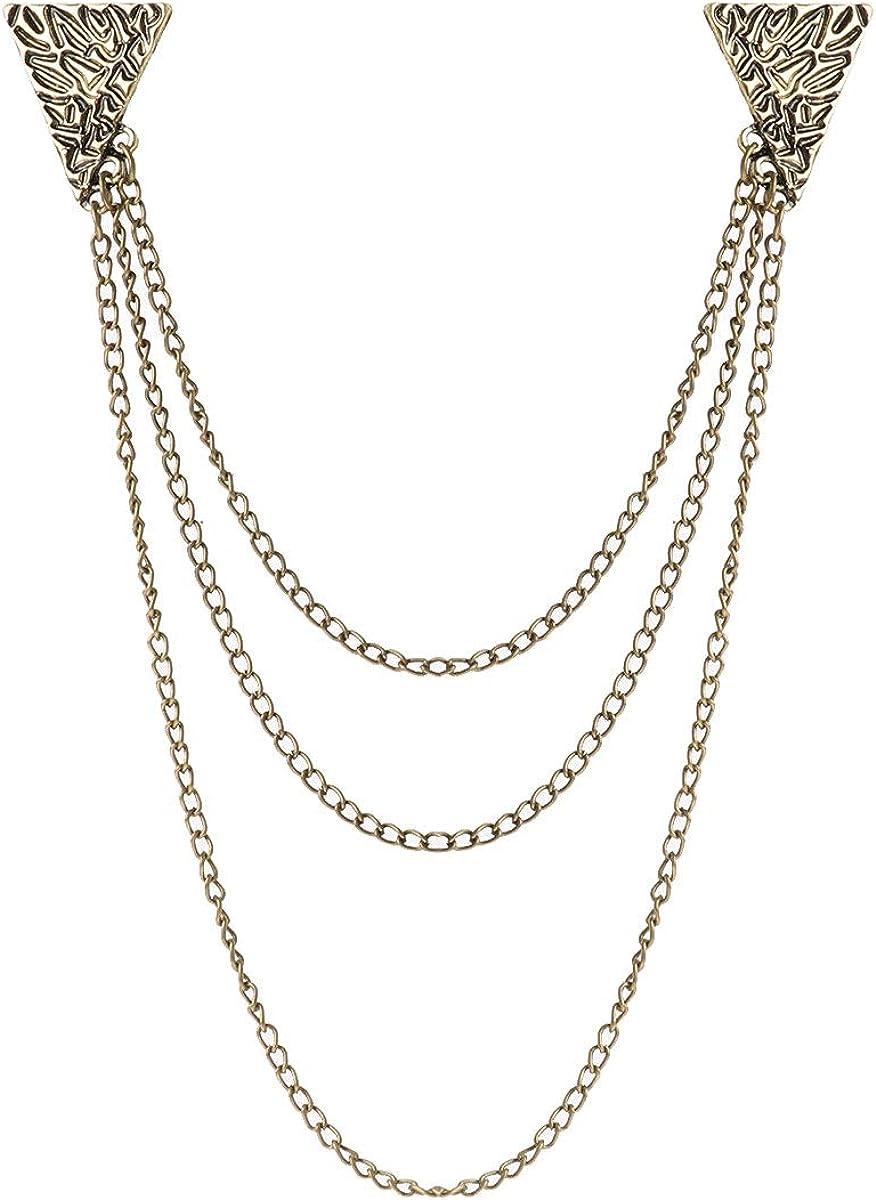 iiniim Broche Clip Vintage Collar con Cadena de Leopardo Triángulo Cráneo para Cárdigan Jersey Camisa Suéteres Chal Docoración Elegante Pin Joyería Accesorio Mujer Hombre