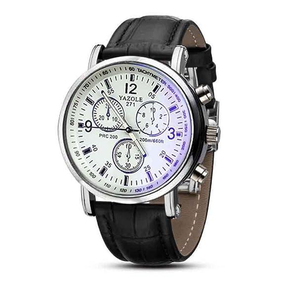 YAZOLE Luxuxoberseiten cuero reloj de la marca Moda esfera blanca de tres a seis donar Reloj de pulsera analógico Negro: Amazon.es: Relojes