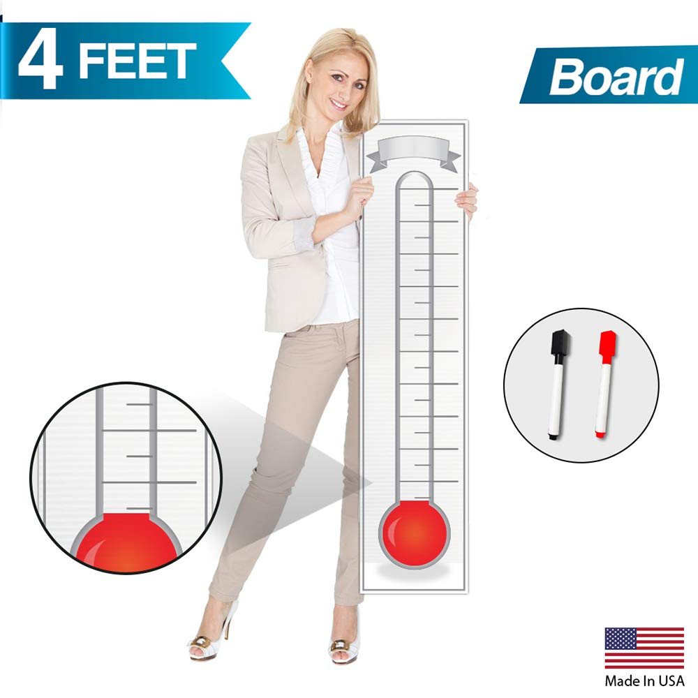Goal Setting Fundraising Thermometer Chart - 48'' x 11'' - Giant Progress Meter Board Corrugated Plastic - Company Sales Milestone Tracking Wall Charts