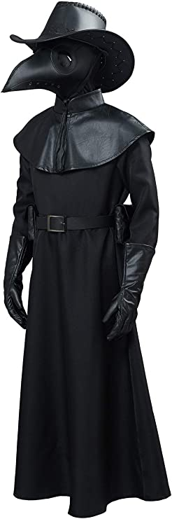 Men's Steampunk Clothing, Costumes, Fashion Adult Kids Unisex Plague Doctor Cosplay Costume Steampunk Bird Beak Mask Long Robe Cape Outfit $72.99 AT vintagedancer.com