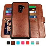 Galaxy S9 Plus Cases,Magnetic Detachable Lanyard Wallet Case with [8 Card Slots+1 Photo Window][Kickstand] for Galaxy S9 Plus9, CASEOWL 2 in 1 Premium Leather Removable TPU Case(Brown)