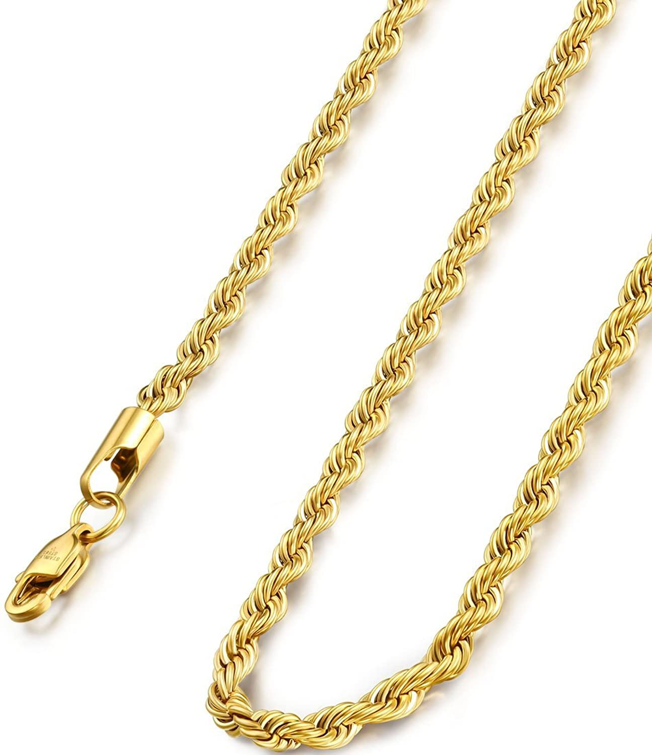 stainless link round waterproof gold chain box steel men necklace gift item