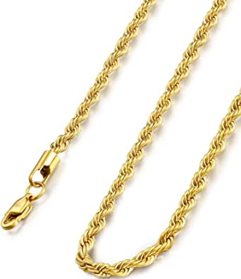 FIBO STEEL 18k Real Gold Plated 2.5-8 MM Stainless Steel Mens Womens Necklace Twist Rope Chain, 16-36 inches