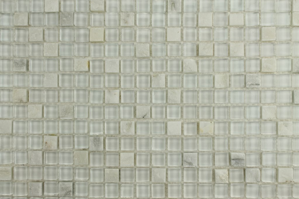 1 Square Foot - Bliss Norwegian Ice White Stone and Glass Square Mosaic Tiles Rocky Point Tile