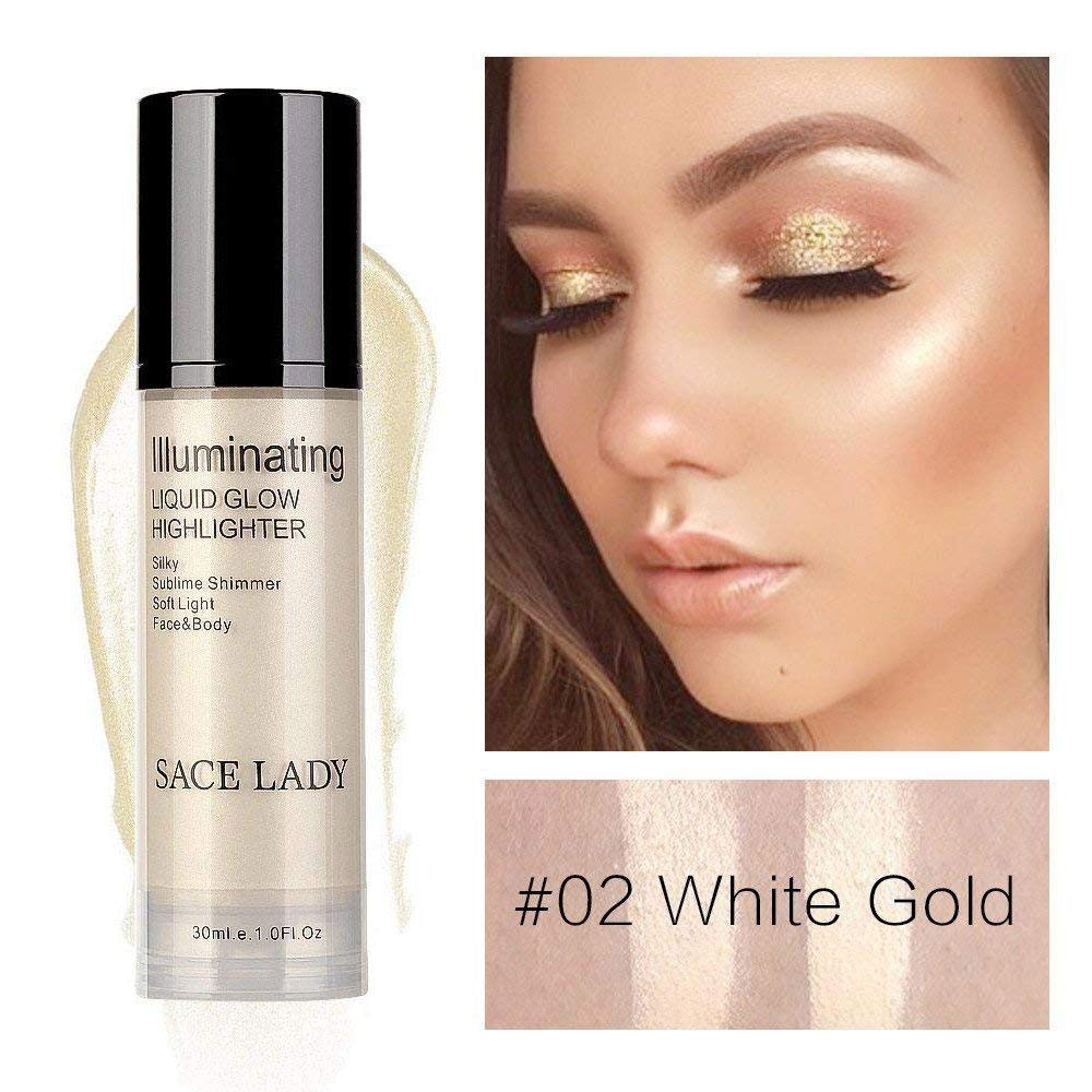 KOBWA Pump Up Liquid Highlighter, Illminating Face Body Liquid Glow Highlighter Makeup, Silky Shimmer Face Brighten Pearl Ultra-Smooth Highlighter Cream, 30ml / 1 Fl. Oz. White Gold